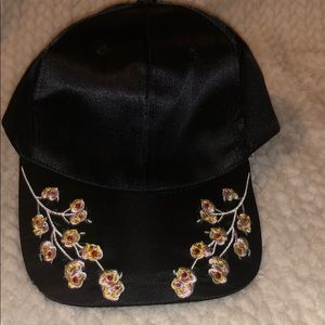 BLACK SATIN CAP WITH FLORAL Designs